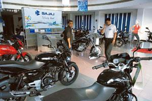Model show: A Bajaj Auto showroom in Faridabad. The company's sales, including exports, went up 51% to 249,474 units in October. Rajkumar/Mint