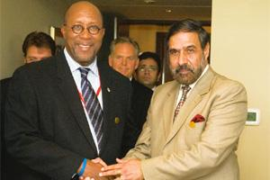 Providing a fillip: US trade representative Ron Kirk (left) and commerce and industry minister Anand Sharma held talks in New Delhi last week aimed at boosting trade between the two countries. Ramesh