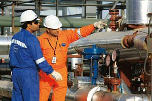 Power business: Workers at Cairn India's Mangala field. The firm will deliver crude oil to RIL's refinery at Jamnagar in Gujarat