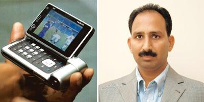 Hands on: Live streaming on cellphones (left - PTI) is one of the latest attractions for start-ups; Apalya's CEO Vamshi Reddy.