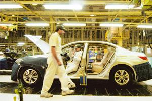 Positive surge: A Honda Siel plant in Uttar Pradesh. Goldman Sachs said in an advisory that September industrial production confirms the message from a range of indicators such as vehicle sales. Rames