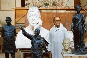 Idolized: Nine of Sutar's Nehru statues have been installed at public places. Sudhanshu Malhotra / Mint