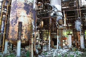 Hazardous history: Scaffolding of rusted towers and pipes at the factory. Madhu Kapparath / Mint