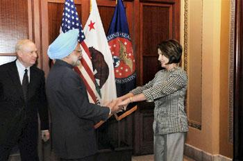 Prime Minister Manmohan Singh shakes hands with Nancy Pelosi, Speaker of the US House of Representatives, at Capitol Hill in Washington on Monday. PTI photo