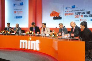 Banking perspectives: (from left) Sanjay Sharma, managing director and CEO, IDBI Intech; B. Sambamurthy, director, IDRBT; Pravir Vohra, chief technology officer, ICICI Bank; Tamal Bandyopadhyay, deput