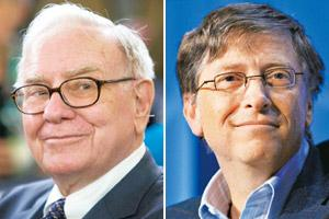 Campus talk: Berkshire Hathaway chairman and chief executive Warren Buffett (left) and Microsoft Corp. chairman Bill Gates. Photographs: Andrew Harrer / Bloomberg and Daniel Acker / Bloomberg