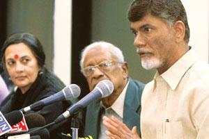 Leading the charge: (from right) TDP's Naidu addresses a conference on Andhra Pradesh mining issues in New Delhi on Sunday as CPI general secretary A.B. Bardhan and CPM leader Brinda Karat look on. Vi