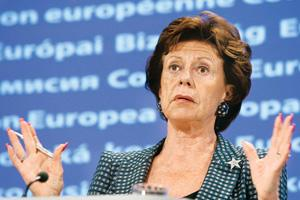 Viable alternative: The European Commission's competition chief Neelie Kroes wants open-source software to be available. Yves Logghe / AP