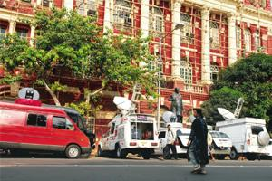 Overcrowded? A file photo of outside broadcasting vans of different TV channels parked in front of the Writers Buildings in Kolkata. Indranil Bhoumik / Mint