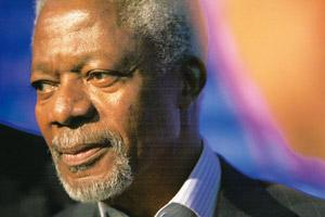 Tough talk: Annan says a deal that stops at rhetoric and does not meet the needs of the poorest and climate-vulnerable nations will not work. Scott Eells / Bloomberg