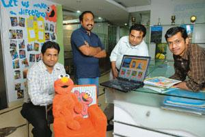 Business model: Impelsys team-members Kiran Kishan Singh,Vipin Chandran, Ulhas Anand and Sachin Nayak at its technology centre, Bangalore. The firm earns annual revenue of $10 mn from publishing. Hema