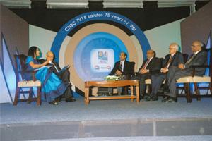 Economic concern: (from right) C. Rangarajan, Bimal Jalan,Y.V. Reddy and D. Subbarao at an event organized by CNBC-TV18. RBI governor Subbarao says there is concern about inflation, but the threat is