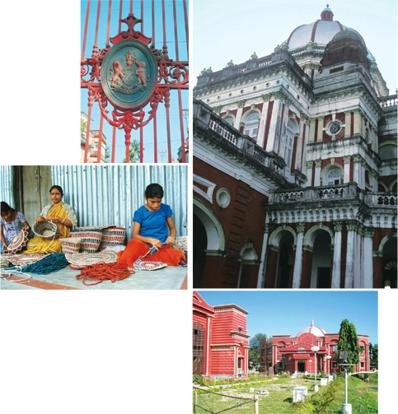 Royal insignia: (clockwise from above) Cooch Behar Palace; the Benfish Tourist Lodge; jute handicrafts being woven; and the royal coat of arms on the palace gates. Photographs by Chitralekha Basu