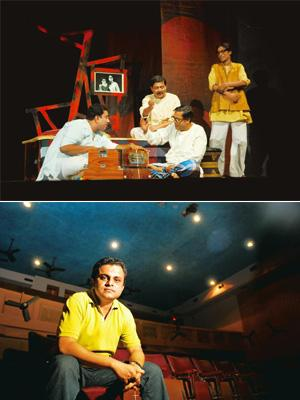 Voice of dissent: (top) Ruddhasangeet being performed in Kolkata; and Bratya Basu. Photographs: Indranil Bhoumik / Mint