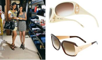 Double bill: (left) Two women make the best shoppers; people who buy denims are most likely to buy a pair of sunglasses.