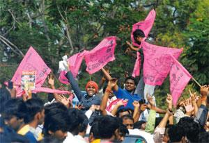 Street theatre: Telangana supporters at Osmania University, Hyderabad. Mahesh Kumar A / AP