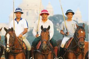 Mounted: Players rehearse at the Royal Calcutta Turf Club opposite the Victoria Memorial. Indranil Bhoumik / Mint