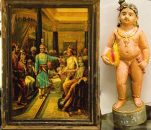 Evergreen: (left) Krishna Shistai is available with Ashok Agarwal; a Ravi Varma-inspired figurine at the Neemrana store. Harikrishna Katragadda / Mint