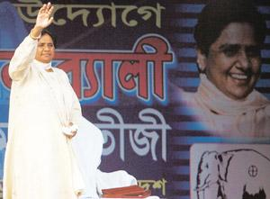 ] Thinking small: Uttar Pradesh chief minister and BSP chief Mayawati at a rally in Kolkata on 21 April. She has renewed her demand to trifurcate the state into Poorvanchal, Bundelkhand and Harit Prad