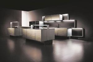 Minimalist:Though it is designed for men, simple accessorizing can make these macho kitchens appealing to women.