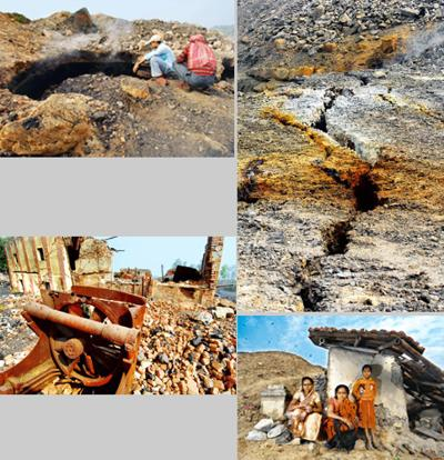 Mining menace: (clockwise from top left) Locals watch as smoke and methane gas emanate from a huge crack in the ground as a result of excessive mining; cracks such as these abound in West Bengal's Sam