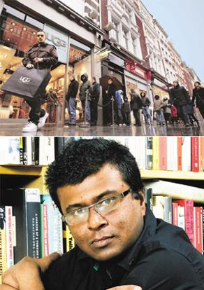 Flashback: Bhattacharya's book takes us to the narrator's days in London (top – Carl Court / AFP); the author.