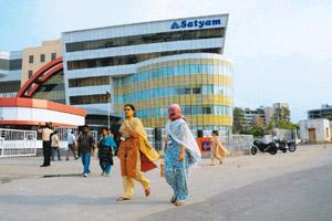Safe mode: A file photo of Satyam's corporate office in Hitec City, Hyderabad. The company has offered salary hikes of 7-20% and hefty retention bonuses as it struggles to stem its steep attrition rat