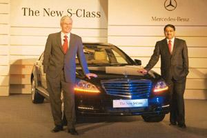 New push: Wilfried Aulbur, managing director and chief executive, Mercedes-Benz India; and Debashish Mitra, director, sales and marketing, at the launch of the luxury sedan S500 L in New Delhi. Ramesh