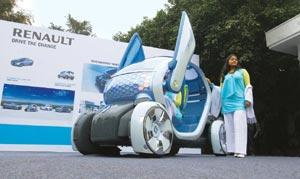 Zero-emission vehicle: Renault-Nissan's Twizy ZE Concept car will be on display at the Delhi Auto Expo. Ramesh Pathania/Mint