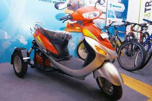 Thoughtful: Electric scooter Roamer Able on display at Auto Expo 2010. Ramesh Pathania / Mint
