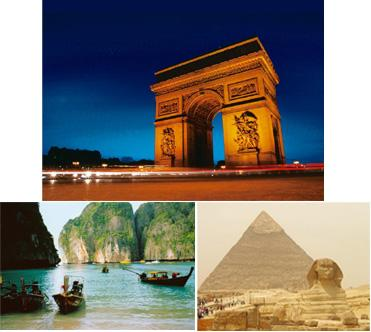 Been there: (clockwise from left) The Arc de Triomphe, Paris; The Great Sphinx of Giza, Egypt; Thailand's Ko Phi Phi where the movie The Beach was filmed.