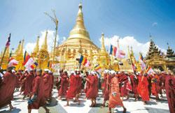 Rallying cry:Buddhist monks in Myanmar protesting against the military regime in September 2007. AFP