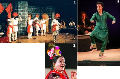 1. Artists performing Powada, a form of Maharastrian folk theatre; 2.Chitresh Das for Fastest Feet in Rhythm under Natya Rang and 3. Teejan Bai, a padma bhusan awardee performs the Pandavani.