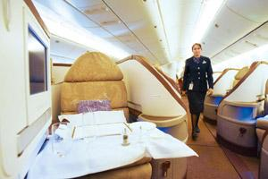 Hot seat: A Jet Airways first-class cabin. The airline, with flatbeds in its first and business class in overseas flights, will have to reconfigure its premium sections in case Virgin gets a patent f