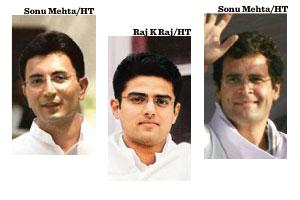 Young turks: (from right) Rahul Gandhi, Sachin Pilot and Jitin Prasada.