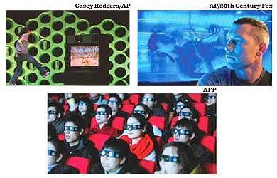 3D race: (clockwise from below) The audience at a screening of Cameron's Avatar in China; a still from the film;Microsoft demonstrates its upcoming Project Natal for the Xbox 360.