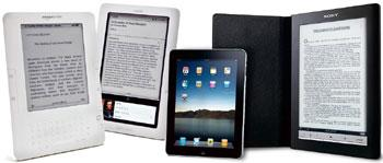 E-content: Overseas products include (from left) Amazon's Kindle, Barnes and Noble's Nook, Apple's iPad and Sony's Reader.