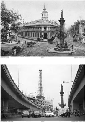 The old and new images of Khada Parsi, Byculla.