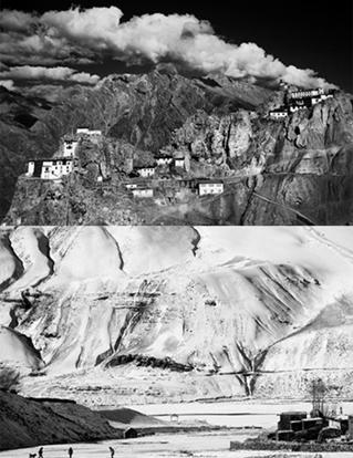 Ahmed's black and white images capture the stunning landscape, the people and the spirit of the Spiti Valley