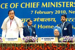 Tough words: Home minister P. Chidambaram and Prime Minister Manmohan Singh at a meeting of chief ministers. Atul Yadav/PTI