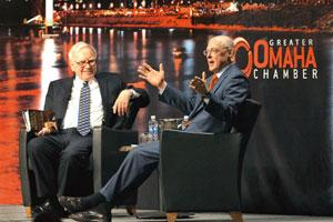 Crisis management: Warren Buffett and former US treasury secretary Hank Paulson at a book promotion event in Omaha, US. Michelle Bishop/Bloomberg