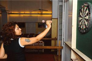Sharp shooter: The darts culture in British-era Kolkata clubs has benefited Chanda. Goutam Roy