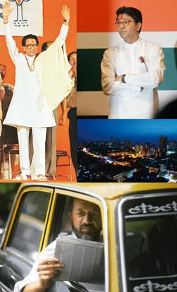 The cast: (clockwise from top left) Shiv Sena supremo Bal Thackeray (AFP) and his estranged nephew Raj (Rajnish Kakade / Hindustan Times), founder of MNS, together control 42% of Mumbai's votes (Abhij
