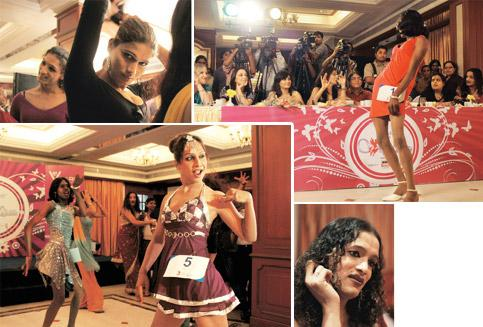 Dancing queens: (clockwise from top left) Contestants getting ready to go on stage; a contestant strikes a pose before the judges; Tripathi, the organizer of the show; the focus was more on the conte