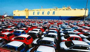 Changing lanes: A view of Hyundai cars parked at the Chennai port. Hyundai exports to 110 countries from India. R Senthil Kumar/PTI
