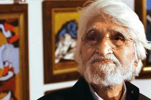 Honoured: M.F. Husain went into a self-imposed exile in 2006 after a controversy over his depiction of Hindu goddesses. Sebastian D'Souza/AFP