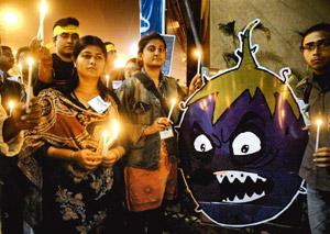 Controversial crop: Activists protest against Bt brinjal in Kolkata on 30 January. Agriculture scientist M.S. Swaminathan has called for tests to determine the long-term impact of the transgenic crop