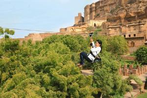 Airborne: A zipline that runs past the ramparts of Mehrangarh Fort.