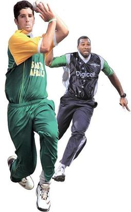 Scoring high: West Indies' Kieron Pollard (in blue) and South Africa's Wayne Parnell. International Cricket Council / HO / AFP