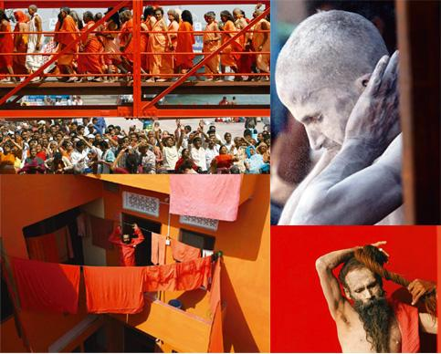 Holy crowd: Sadhus, clothed and bare bodied, congregate at the Kumbh Mela. Photographs by Rajesh Kumar Singh / AP